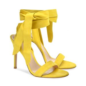 Chickasha - Yellow Lace Up Stilettos Ankle Strap High Heels Sandals