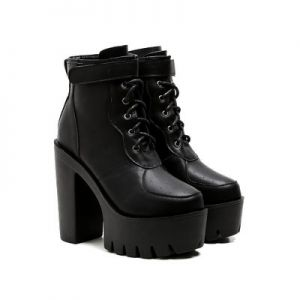 Zoey - Lace Up Platform Ankle Boots