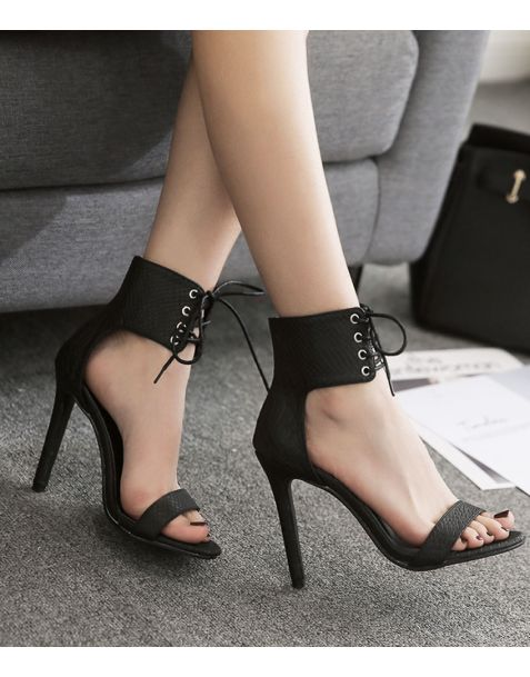 Boulevard Collection Leather Ankle Strap High Heels Sandals