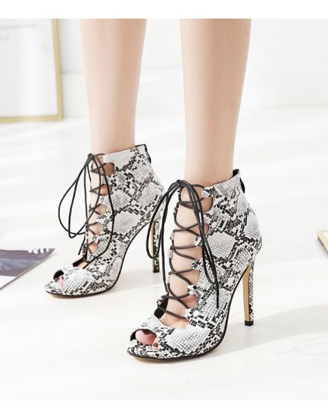 Gladiolus- Snakeskin Stilettos Cross Strap High Heels Sandals