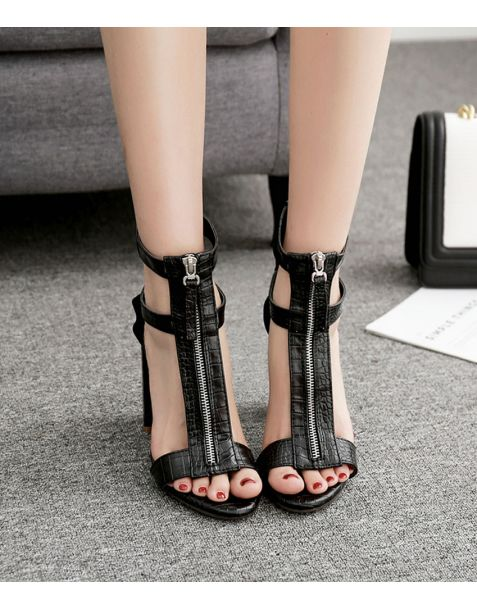 Delaware- Black Ankle Strap High Heels Sandals