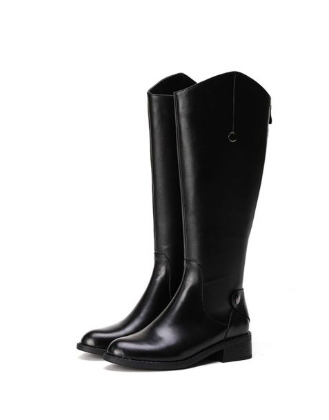 Emma - Black Leather Fashion Knee High Women's Boots