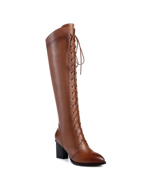 Hill Boulevard - Leather Sexy Fashion Knee High Boots