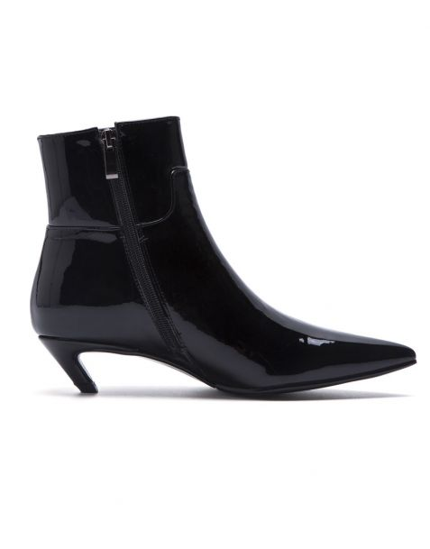 Cindy - Black Leather Winter Fashion Women's Ankle Boots