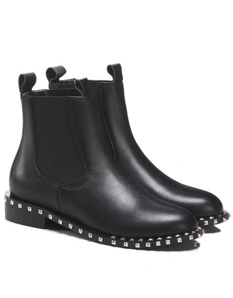 Broadway City - Black Leather Winter Fashion Women's Ankle Boots