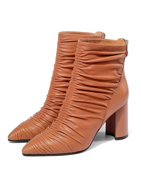 Ange - Khaki Leather Winter Fashion Women's Ankle Boots