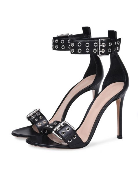 Cape Coral - Black Ankle Wrap Stilettos High Heels Sandals