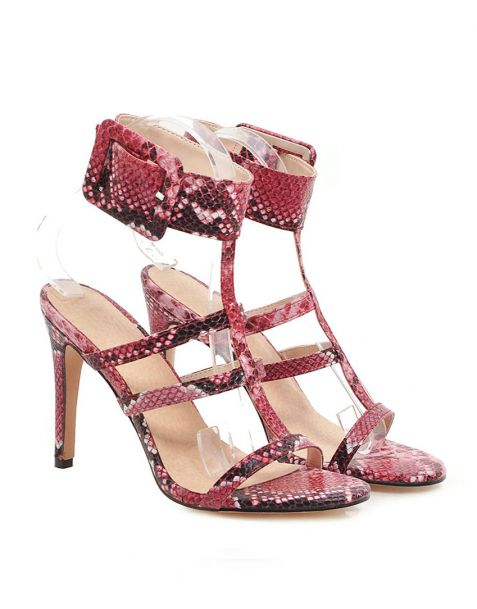 Athens Snakeskin Ankle Wrap High Heels Sandals