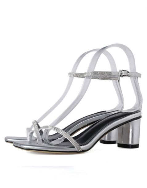 Josephine - Silver Ankle Strap Low Heels Sandals