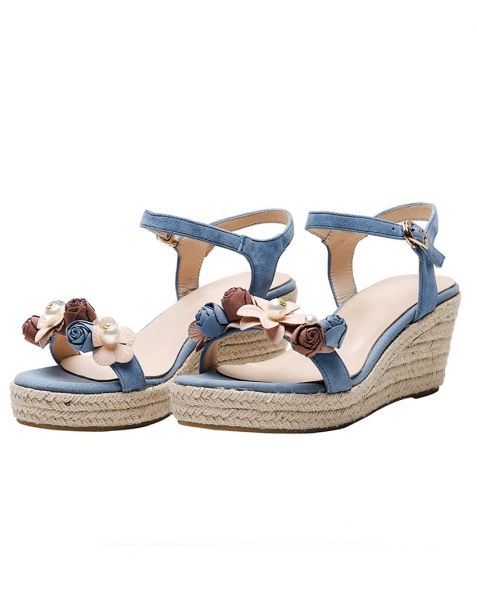 Jessica - Suede Ankle Strap Wedge Heels Sandals