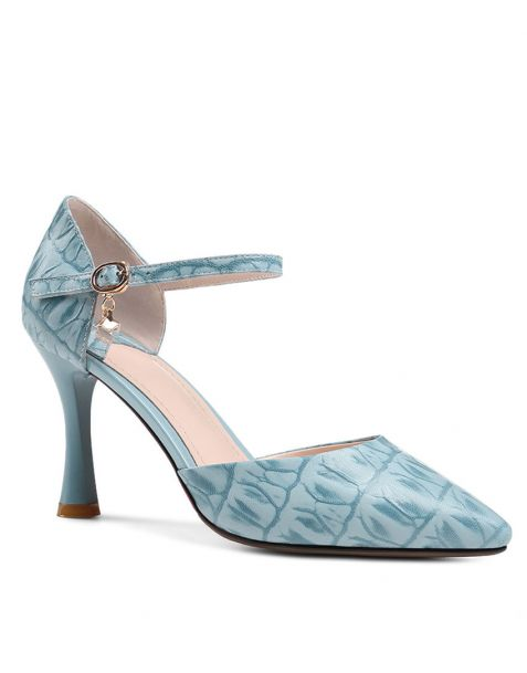 Twin Falls - Leather Ankle Strap High Heels Pumps