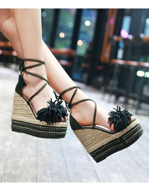 San Juan Capistrano Summer Lace up Gladiator Wedge Heels