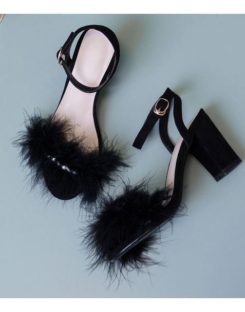 East Point - Suede Ankle Strap High Heels Sandals