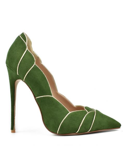 Hanalei Green Leather Stilettos Pumps High Heels