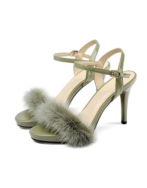 Kerria - Green Leather Ankle Strap High Heels Sandals