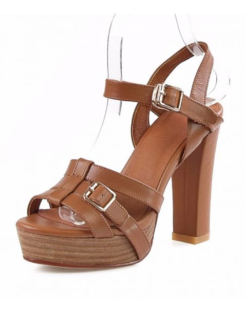 Catmint - Leather Platform Ankle Strap High Heels Sandals