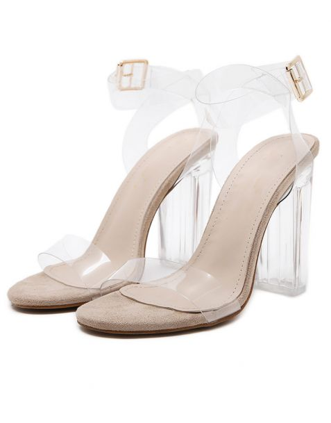 Dahlia - Beige Transparent Ankle Strap High Heels Sandals