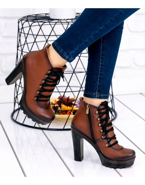 Annata Taba - Sexy Fashion Leather Platform Ankle Boots