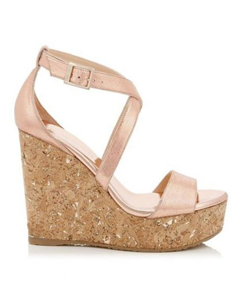 Waukegan - Pink Platform Ankle Strap Wedge Heels Sandals