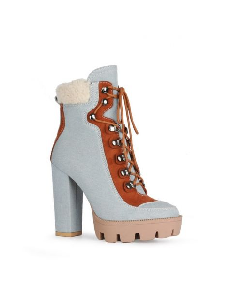 Amour - Fur Lace Up Platform Winter Ankle Boots