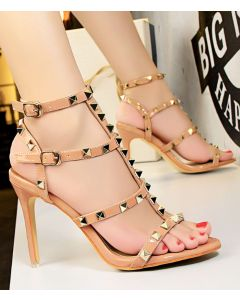 Brentwood Leather Stilettos Ankle Strap High Heels Sandals