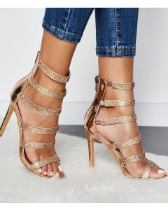 Camerosa Gold Stilettos Ankle Strap High Heels Sandals