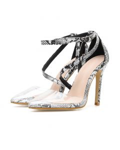 Fénelon - White Ankle Strap Stilettos High Heels Sandals
