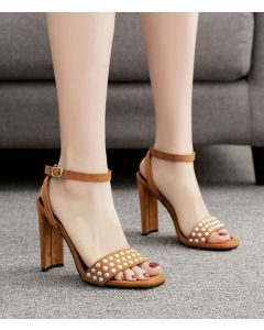 Amélie Brown Ankle Strap High Heels Sandals
