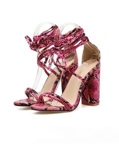 Chadsey - Rose Red Lace Up Gladiator High Heels Sandals
