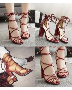 De Grande - Snakeskin Cross Ankle Strap High Heels Sandals