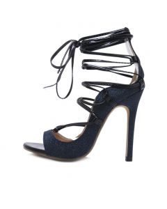 Fort Dodge - Blue Stilettos Cross Strap High Heels Sandals