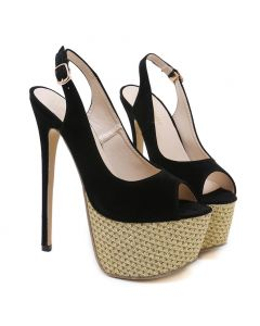 Des Moines 1-  Black Stilettos Platform Ankle Strap High Heels Sandals