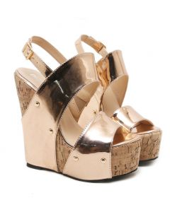 Summit - Gold Platform Ankle Strap Wedge Heels Sandals