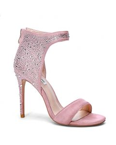 Barbie Pink Suede Stillettos Ankle Wrap High Heels Sandals