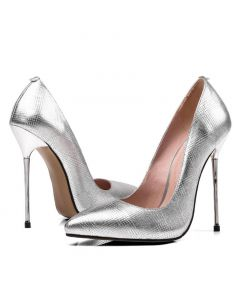 Attaquer Leather Silver Pumps Stilletos High Heels