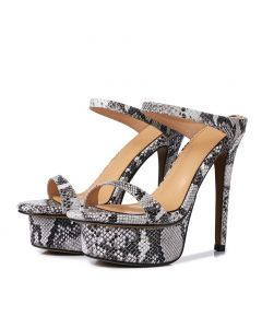 Mildred - Leather Platform Stilettos High Heels Sandals