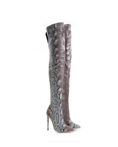 Flaner - Snakeskin Stilettos Knee High Boots