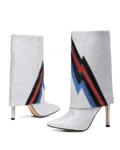 Conturer - Silver Leather Sexy Fashion Calf Length Boots