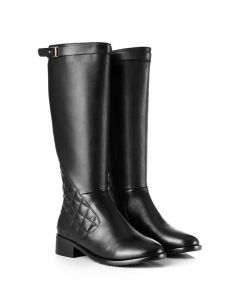 Christiana- Black Leather Fashion Knee High Women's Boots