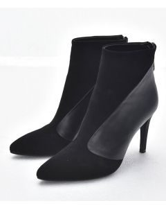 Chaude - Black Leather Sexy Winter Fashion Women's Ankle Boots