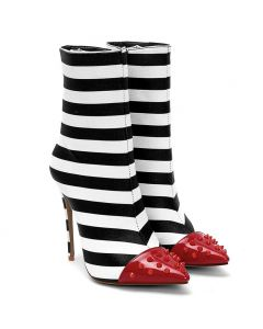 Beau - Zebra Stripes Calf Length Stilettos Women's Boots