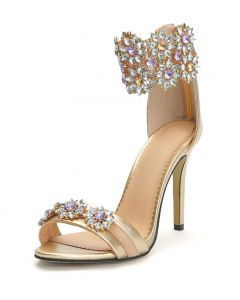 Via dei Tribunali - Gold Fashion Ankle Strap High Heels Sandals
