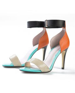 Pekin - Leather Mix Color Ankle Wrap High Heels Sandals