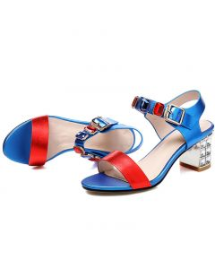 Elmhurst - Blue Ankle Strap Fashion Low Heels Sandals