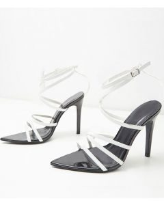 La Grange - Black and white Cross Strap High Heels Sandals