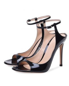 Warner Robins - Black Stilettos Ankle Strap High Heels Sandals