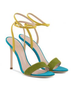 Viale Enrico Forlanini - Mixed Color Stilettos Ankle Strap High Heels Sandals