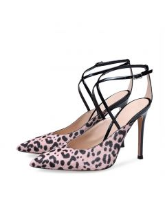 Carlinville - Leopard Pumps Cross Strap High Heels Sandals