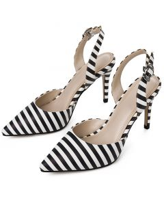 Harriet - Striped Slingback High Heels Pumps