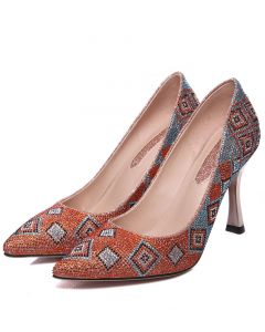 Cairo Orange Pumps High Heels Sandals